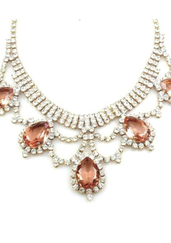Lovely Rose and Clear Crystal Czech Necklace - New!