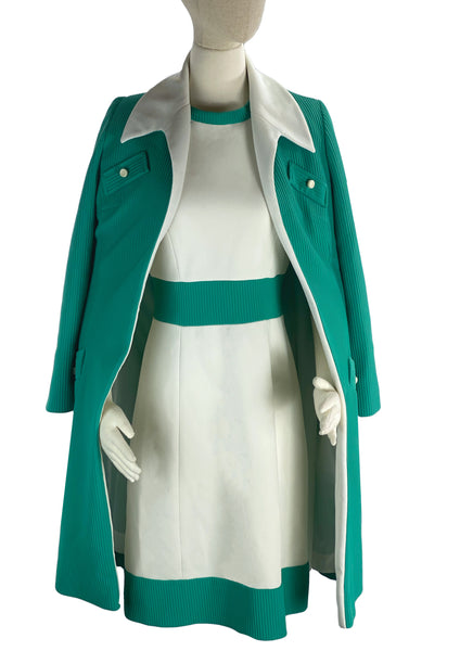 1960s Turquoise & White Designer Dress & Coat Ensemble- New! (ON HOLD)