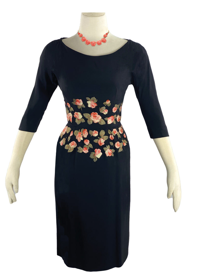 1950s Black Rayon Crepe Designer Dress with Appliqués- New!