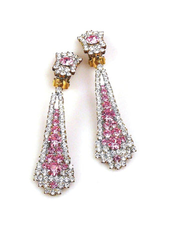 Beautiful Czech Tourmaline and Clear Crystal Earrings - New!