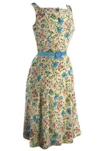 Vintage Late 1940s to Early 1950s Field Flowers Rayon Dress- New!