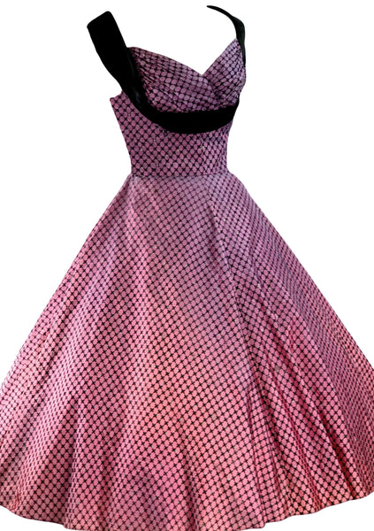 1950's Purple & Black Flocked Party Dress Ensemble - New!