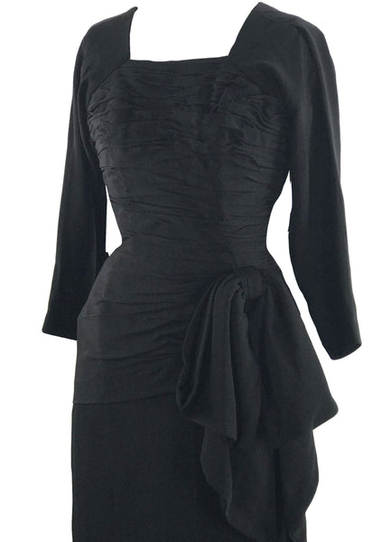 Late 1940s Early 1950s Black Designer Rayon Draped Dress - New!