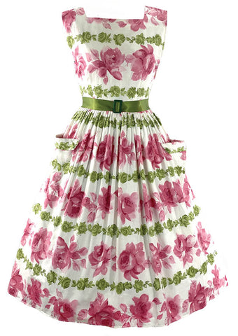 Vintage 1950s Pink Rose Cotton Dress- New!