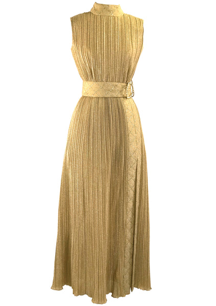 Groovy 1970s Gold Lame Party Dress & Hot Pants Ensemble- New!