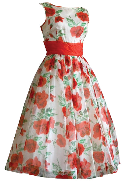 1950s  Orange Roses Organza Party Dress  - New! (special order)