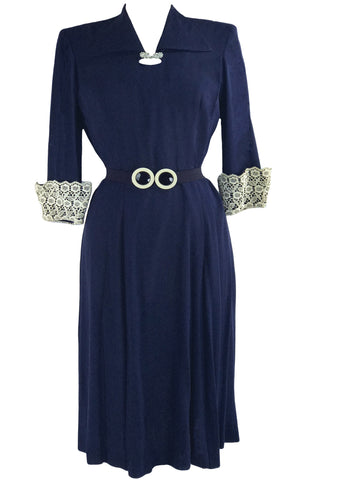 1940s Navy Crepe Dress with Guipure Lace Sleeves- New!
