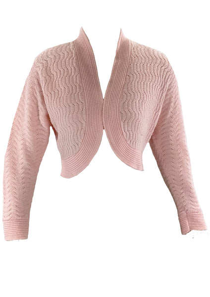 Pretty Vintage 1950s Pink Knit Bolero- New!