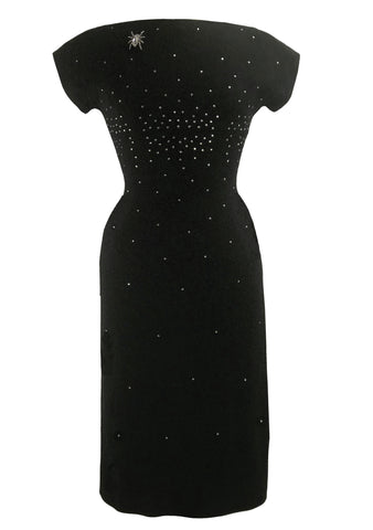 Vintage Early 1960s Black Wool Dress with Rhinestones- New!