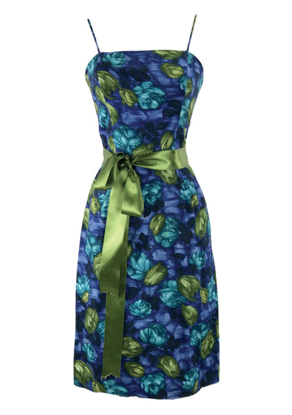 1950s Blue & Green Roses Dress Ensemble- New!