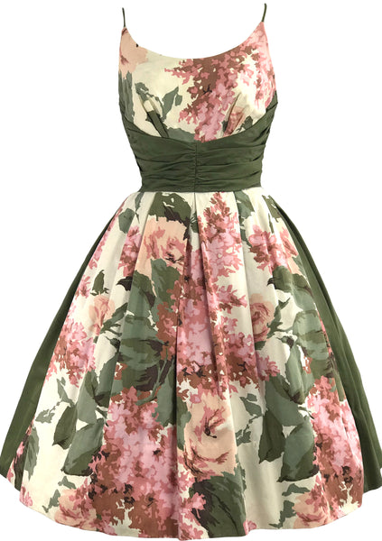 Stunning 1950s Roses & Lilacs Cotton Dress- New!