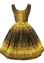 Vintage 1950s Golden Scroll Cotton Dress- New!
