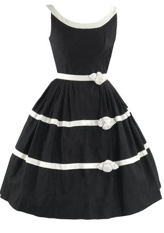 1950s Black Pique Dress with Ivory Rose Appliques & Banding  - New!