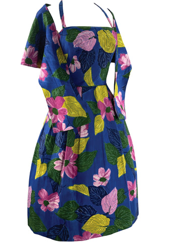 1960s Blue Floral Print Designer Dress & Stole Ensemble- New!