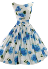 1950's Blue & White Large Roses Print Pique Cotton Dress - New!