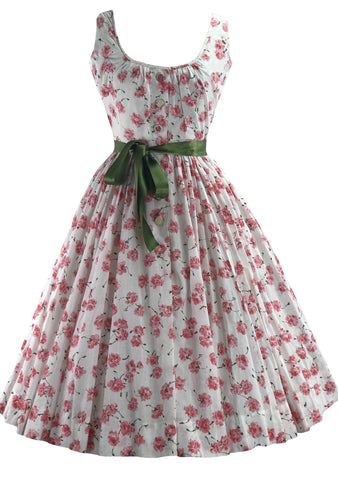 1950s Gilden Pink Rose Print Cotton Dress- New!