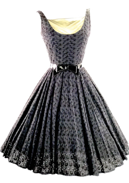 1950's Black Eyelet Embroidered Lace Cotton Dress- New!