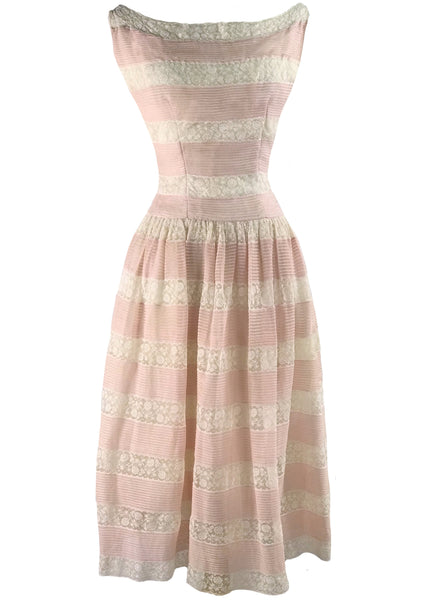Dreamy 1950s Pink & White Lace & Pin Tucks Dress - New!