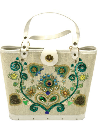 Vintage 1960s Edith Collins Jewelled Canvas Handbag - New! eb681fb536d7b