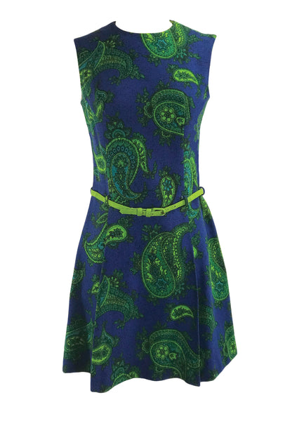 Vintage 1960s Paisley Linen Mod Mini Dress - New!