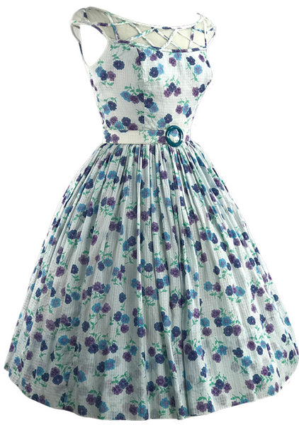 1950s Saba Jrs California Cotton Pansies Floral Dress- New!