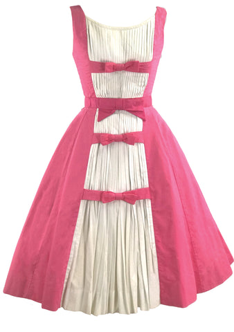 Vintage 1950s Pink & White Cotton Susy Perette Dress- New!