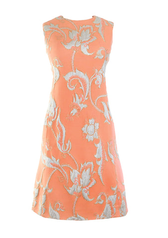 Vintage 1960s Sherbet and Silver Brocade Dress  - New!