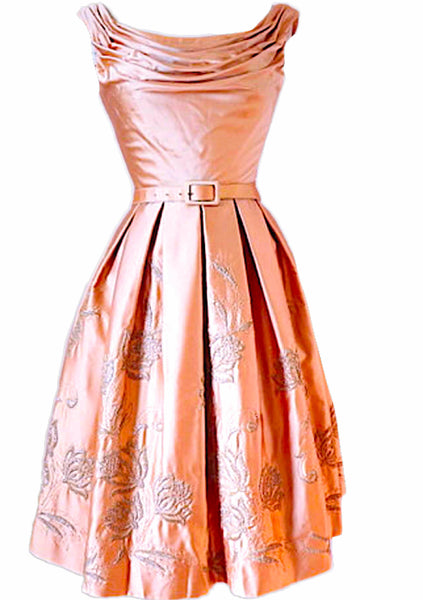 5251fa3bcb 1950 s Pink Draped   Embroidered Satin Party Dress ...