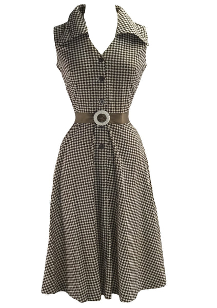 1970s Brown & White Houndstooth Horrockses Designer Dress- New!