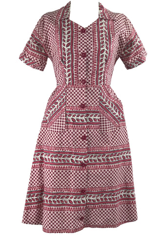 Early 1950s Red and White Geometric Print Cotton Dress- New!