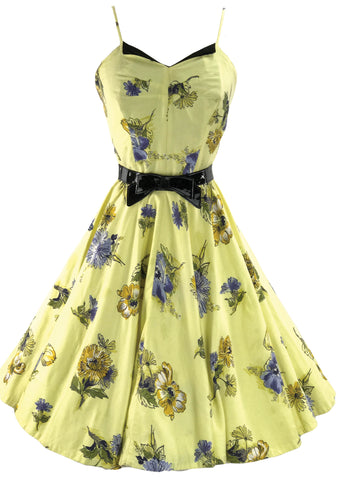 1950s Daffodil Yellow Floral Cotton Dress Ensemble - New!