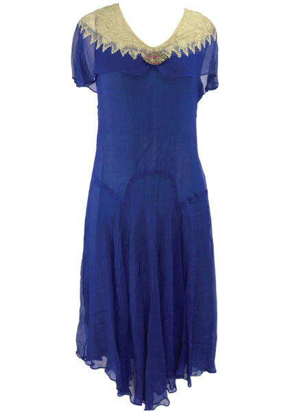 Genuine 1920s Sapphire Blue Crepe Dress - New!
