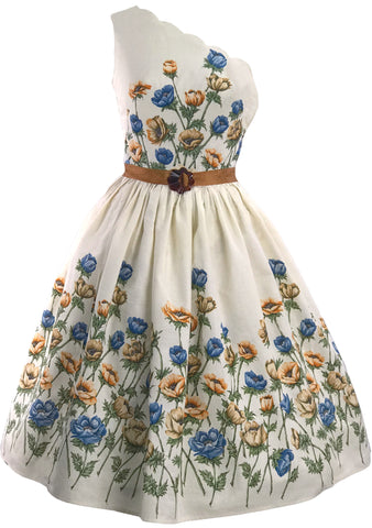 1950s Blue & Bronze Floral Border Cotton Dress  - New! (LAYAWAY)