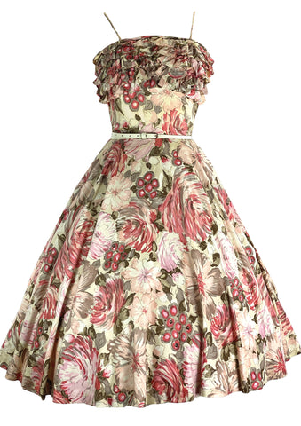 1950s Floral Cotton Sundress with Ruffles- New!