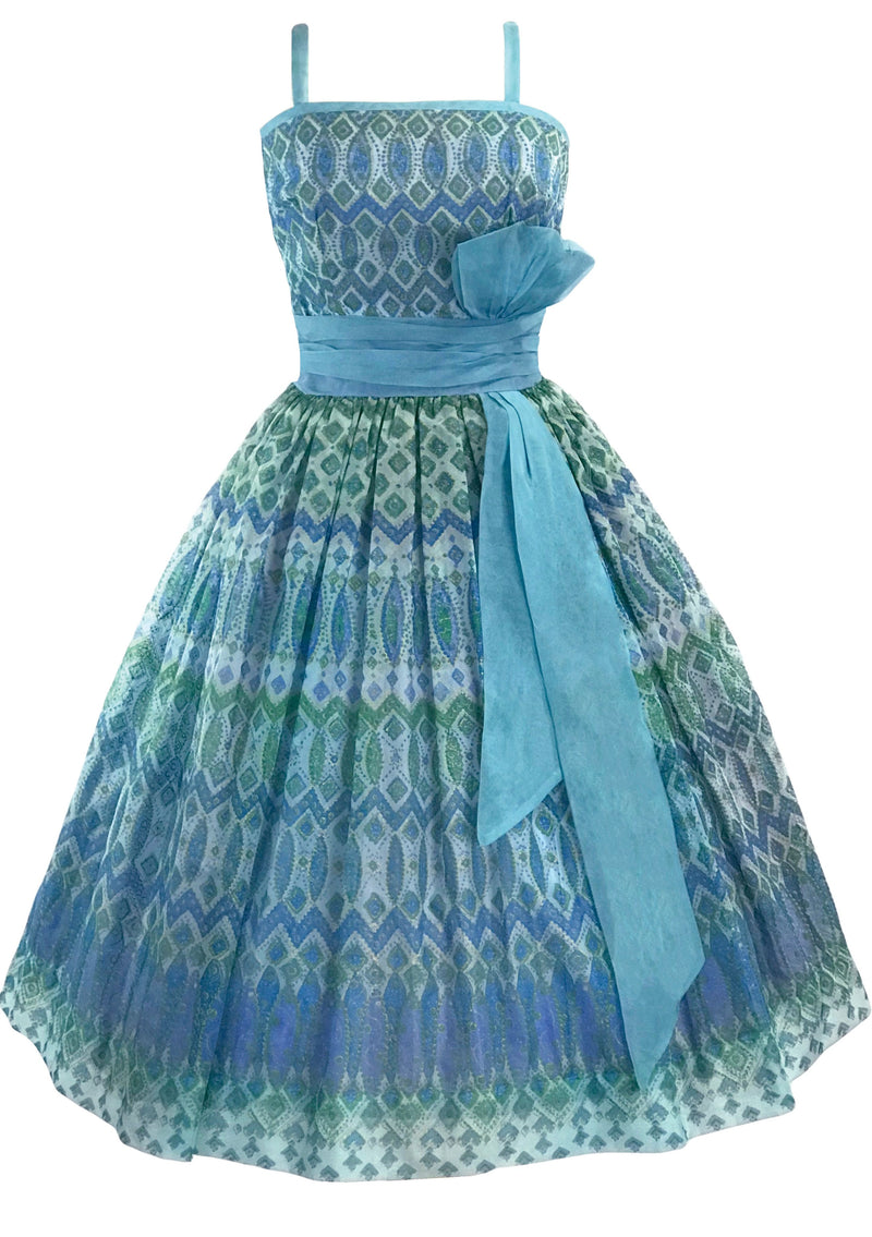 1950s Peacock Plaid Silk Organza Party Dress  - New!