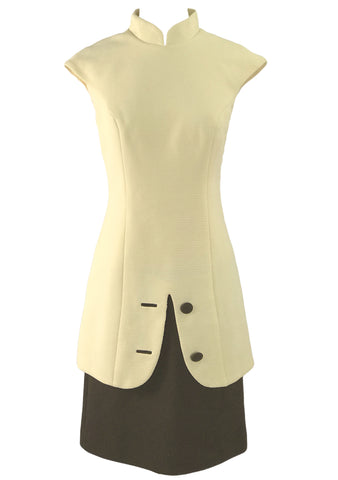 Vintage 1960s Cream & Brown Designer Asian Style Dress - New!