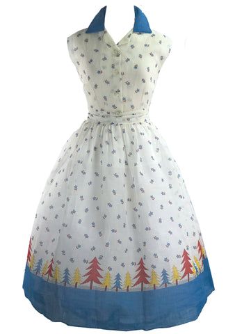 1950 Organdie Dress with Pine Trees Border Print  - New! (RESERVED)