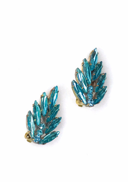 Czech Aquamarine Crystal Earrings - New!