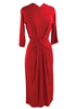 Dramatic 1940s Red Crepe Sculptured Dress- New!