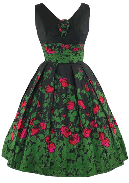 Vintage Late 1950s Red Roses Silk Dress - New!