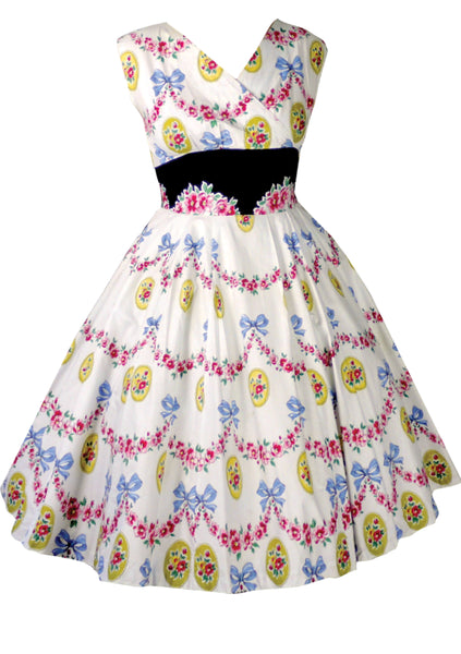 Original 1950s Bow Floral Cameo Print Cotton Dress  - New!