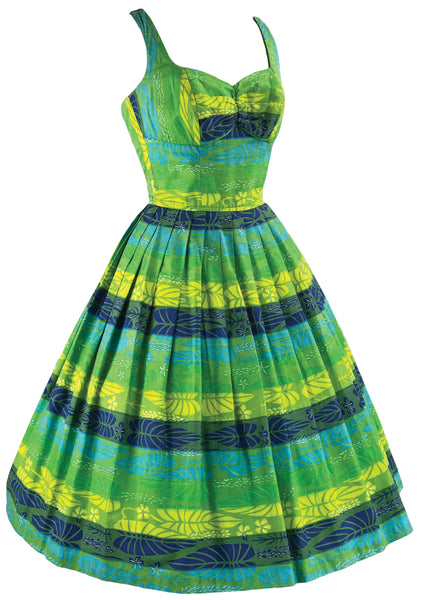 Vintage 1950s Blue & Green Cotton Kamehameha Dress - New!