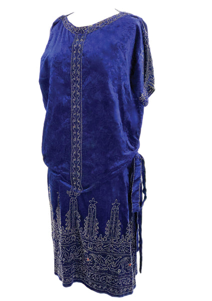 1920s Sapphire Blue Velvet Beaded Flapper Party Dress- New!