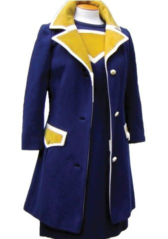 Original Couture 1960s Navy & Yellow Lilli Ann Ensemble - New!