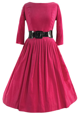 Lovely Early 1960s Cerise Velvet Dress- New! (ON HOLD)