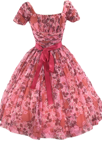 1950s Watermelon Pink Floral Chiffon Party Dress - New!