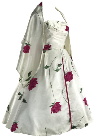 1950s Red Roses on Ivory Satin Party Dress Ensemble- New!