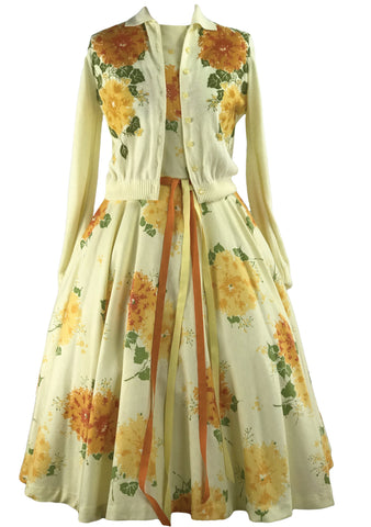 Rare 1950s Yellow Floral Jerry Gilden Dress Ensemble - New!