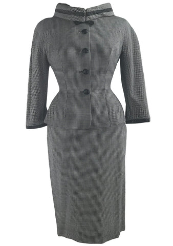 1950s Lilli Ann Designer Navy & White Houndstooth Suit - New!