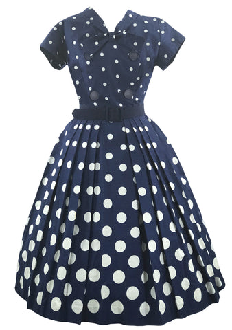 Beautiful 1950s Blue and White Graduated Dot Dress- New!